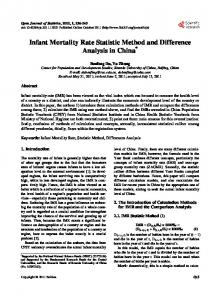 Infant Mortality Rate Statistic Method and Difference Analysis in China *
