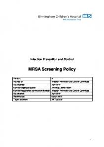 Infection Prevention and Control MRSA Screening Policy