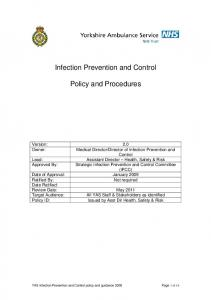 Infection Prevention and Control. Policy and Procedures