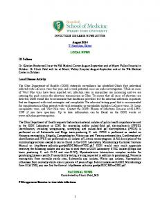 INFECTIOUS DISEASES NEWSLETTER. August 2014 T. Herchline, Editor LOCAL NEWS