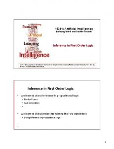 Inference in First Order Logic. Inference in First Order Logic : Artificial Intelligence Behrang Mohit and Davide Fossati