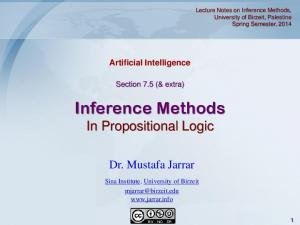Inference Methods In Propositional Logic