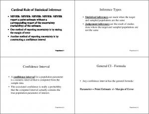 Inference Types. Cardinal Rule of Statistical Inference. General CI - Formula. Confidence Interval