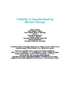 Infidelity in Couples Seeking Marital Therapy
