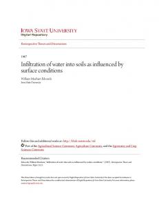 Infiltration of water into soils as influenced by surface conditions