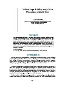 Infinite Slope Stability Analysis for Unsaturated Granular Soils