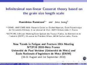 Infinitesimal non-linear Cosserat theory based on the grain size length scale