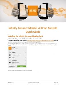Infinity Connect Mobile v2.0 for Android Quick Guide
