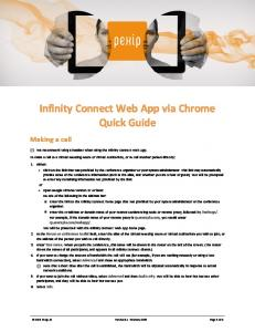 Infinity Connect Web App via Chrome Quick Guide