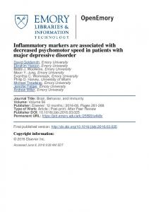 Inflammatory markers are associated with decreased psychomotor speed in patients with major depressive disorder