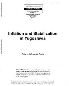 Inflation and Stabilization in Yugoslavia