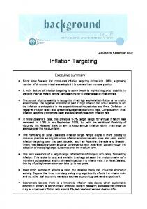 Inflation Targeting. Executive summary