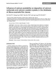 Influence of calcium availability on deposition of calcium carbonate and calcium oxalate crystals in the idioblasts of Morus australis Poir