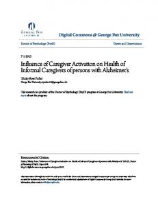 Influence of Caregiver Activation on Health of Informal Caregivers of persons with Alzheimer s