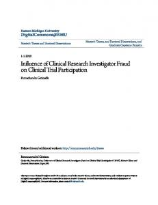 Influence of Clinical Research Investigator Fraud on Clinical Trial Participation
