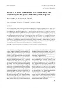 Influence of diesel and biodiesel fuel-contaminated soil on microorganisms, growth and development of plants