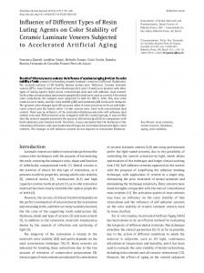 Influence of Different Types of Resin Luting Agents on Color Stability of Ceramic Laminate Veneers Subjected to Accelerated Artificial Aging