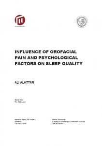 INFLUENCE OF OROFACIAL PAIN AND PSYCHOLOGICAL FACTORS ON SLEEP QUALITY