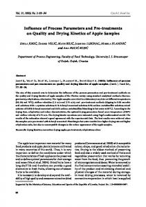 Influence of Process Parameters and Pre-treatments on Quality and Drying Kinetics of Apple Samples