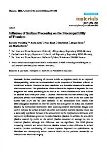 Influence of Surface Processing on the Biocompatibility of Titanium