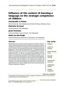Influence of the context of learning a language on the strategic competence of children