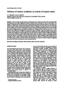 Influence of weather conditions on activity of tropical snakes