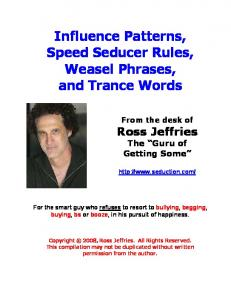 Influence Patterns, Speed Seducer Rules, Weasel Phrases, and Trance Words