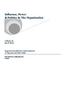 Influence, Power & Politics In The Organization