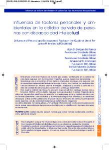 influencia de factores personales y ambientales en la calidad de vida de personas con discapacidad intelectual