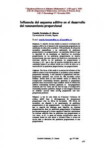 Influencia del esquema aditivo en el desarrollo del razonamiento proporcional