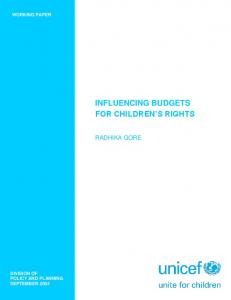 INFLUENCING BUDGETS FOR CHILDREN S RIGHTS