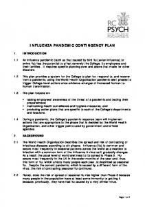 INFLUENZA PANDEMIC CONTINGENCY PLAN