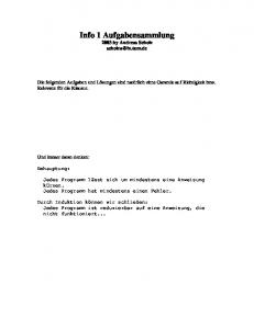 Info 1 Aufgabensammlung 2003 by Andreas Scholz