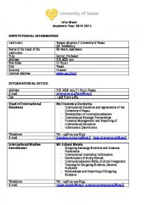 Info Sheet Academic Year Mr Matti Jakobsson