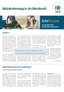 InfoForum. Alphabetisierung in der Arbeitswelt. Position. Alphabetisierung und Grundbildung. Forschungsinstitut Betriebliche Bildung (f-bb)