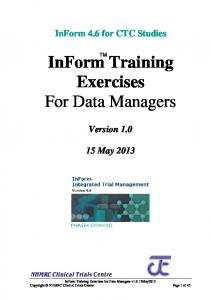InForm Training Exercises For Data Managers