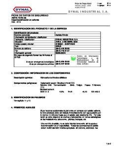 INFORMACION DE LOS COMPONENTES 3. IDENTIFICACION DE PELIGROS 4