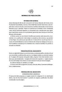 Información general. Presentación del manuscrito. Preparación del manuscrito