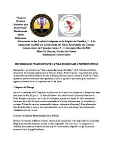 INFORMACION IMPORTANTE PARA TODOS LOS PARTICIPANTES
