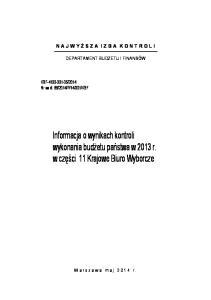 Informacja o wynikach kontroli wykonania budżetu państwa w 2013 r. w części 11 Krajowe Biuro Wyborcze