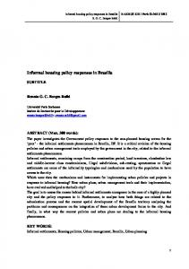 Informal housing policy responses in Brasilia