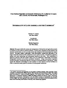 INFORMALITY IN LATIN AMERICA AND THE CARIBBEAN *