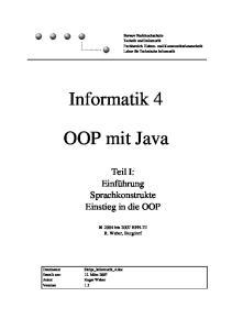 Informatik 4. OOP mit Java
