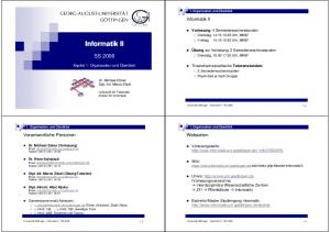 Informatik II. Informatik II SS Webseiten. Verantwortliche Personen