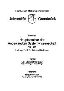 Informatik. Seminar. Hauptseminar der Angewandten Systemwissenschaft. SS 1998 Leitung: Prof. Dr