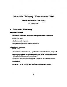 Informatik Vorlesung Wintersemester 2006