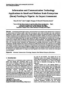 Information and Communication Technology Applications in Small and Medium Scale Enterprises (Smes) Funding in Nigeria: An Impact Assessment
