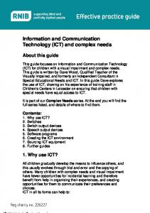 Information and Communication Technology (ICT) and complex needs