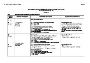 INFORMATION AND COMMUNICATION TECHNOLOGY (ICT) YEARLY LESSON PLAN FORM 4