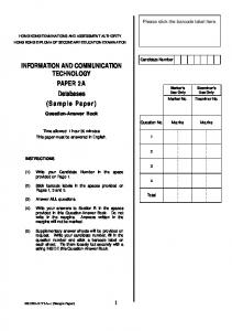 INFORMATION AND COMMUNICATION TECHNOLOGY PAPER 2 A Databases (Sample Paper)